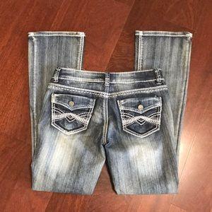Mudd boot cut white stitch jeans s7